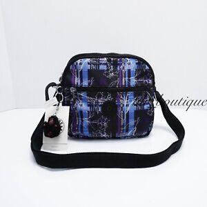 NWT Kipling HB6468 Keefe Shoulder Crossbody Bag Double Zip Nylon Darling Dashes