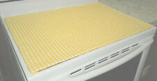 Yellow & White Checked Glass Stove top / Cook top Cover & Protector