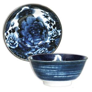 "Japanese Rice Soup Noodle Bowl 6""D Porcelain Lucky Karajishi Lion Made in Japan"