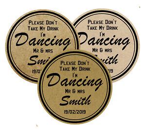 "50 Wedding Vintage Laminated coasters ""don't take my drink I'm Dancing"""