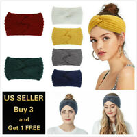Women Winter Knitted Ear Warmer Headband Crochet Wool Hairband Hat Beanie