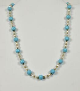 """14k Yellow Gold, Turquoise & Pearl 16"""" Necklace"""