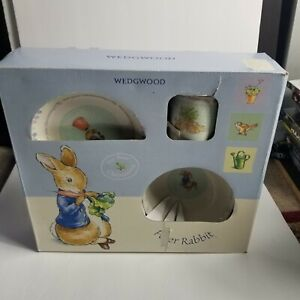 Wedgwood Peter Rabbit Bowl Cup Plate Beatrix Potter Christening 3 Piece Set