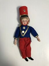 Vintage Porcelain & Soft Body Toy Soldier Boy Doll Ornament Christmas Holiday