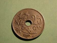 BELGIE. 25 CENTIEMEN 1929. PARTICULARITE. ALIGNEMENT AXE DES COINS..