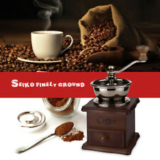Manual Ceramic Core Coffee Grinder With Hand Crank Drawer Solid Wood Body