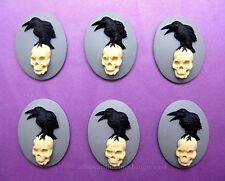 6 BLACK BIRD & SKULL GOTH CROW RAVEN on Gray 25mm x 18mm Costume Jewelry CAMEOS