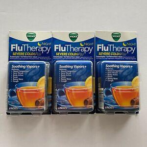 Vicks Flu Therapy Night, Severe cold&flu Honey Lemon Tea 18 Total Exp 7/21