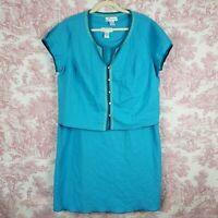 Dressbarn Linen Sheath Dress Jacket 2 Pc Womens Plus Size 18W Blue
