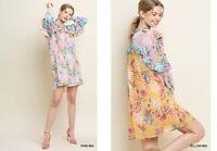 SML Boutique UMGEE YELLOW PINK floral Print Ruffle Keyhole Dress/Tunic SASSY SKY