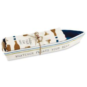 Mud Pie E0 Retreat Lake House Boat Dish & Towel Set Choose Color 42300014