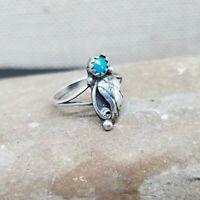 VTG Navajo Old Pawn Sterling Silver Petite Turquoise Squash Blossom Ring Sz