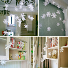 3m White Paper Material 3D Snowflake Pendant Garland Christmas Decoration M&R