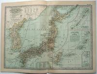 Japan & Korea - Original 1902 Map by The Century Company. Antique