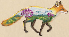 FOX AND LANDSCAPE UNIQUE EMBROIDERED HAND TOWEL SET OF 2 BY LAURA