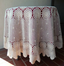 """Vintage Crochet Lace Round Tablecloth -Cover ivory handmade About 68"""" Across"""