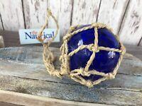 "3"" Blue Glass Fishing Float ~ Fish Net Buoy Ball ~ Nautical Maritime Decor"