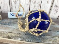 "3"" Blue Glass Fishing Float ~ Fish Net Buoy Ball ~ Nautical Maritime Decor"
