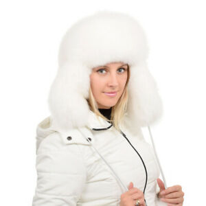 Genuine White Fox Fur Ushanka Hat NEW Women Winter Cap Natural Fur Luxus Ski FOX