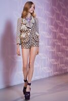 Authentic Louis Vuitton Resort 2013 Tweed Fringe Sequin Cropped Blazer,FR42