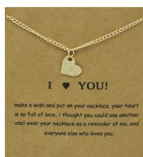 """I LOVE YOU HEART necklace, gold dipped women's Jewelry Gift  16-18"""" new bag"""