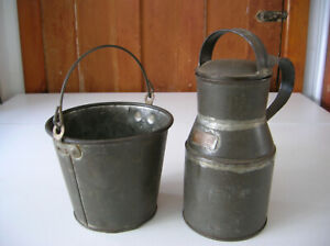 antique cream milk can with brass tag and tin pail
