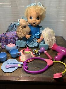 Baby Alive Doll Soft Face Works Original Dress Cup Spoon Bowl Diaper Food Lot