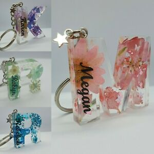 Initial Keyring Letter • Personalised • Name • Bag • Present • Mother's Day