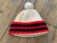 Authentic Gucci White/Stripes Wool Beanie With Pom Pom Watch Cap Skull Hat
