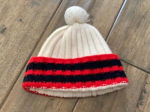 Authentic Gucci White/Stripes Wool Beanie With Pom Pom Watch Cap Skull Hat
