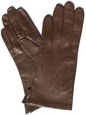 Handschuhe Leder Damen Kaiser Leather Glove Finger gefüttert Muster Braun 7 M