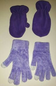 2 pair PURPLE GLOVES for SISTERS 2/4T fleece mittens 7/16 stretch gloves clean c