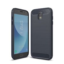Samsung Galaxy J5 2017 TPU Case Carbon Fiber Optik Brushed Schutz Hülle Blau Neu