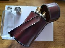 Vintage Triple Hip Flask in Leather Carry case