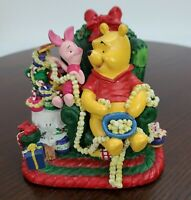 "Disney 5"" Winnie The Pooh And Piglet Christmas Figurine Ceramic Hunny Pot Heavy"