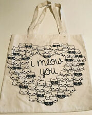 Forever 21 Reusable Cotton Tote Bag I Meow You Cats Cat Lover