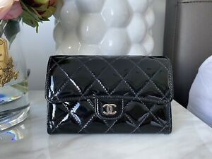 CHANEL | Black Patent Lambskin Quilted Leather Medium Flap Wallet | SHW