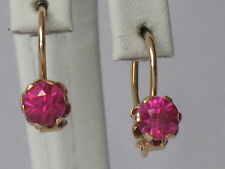 Antique Russian Gold Au 583 14k Earrings Vintage Red Stone Pink Woman Old Ruby
