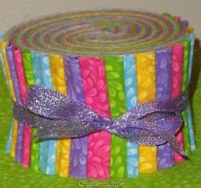 """Jelly Roll Strips Quilting Fabric 20~2.5"""" Pink Green Blue Yellow Pastel Floral"""
