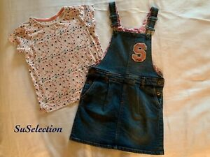 GIRLS DENIM DUNGAREE SKIRT PINAFORE DRESS & TOP-6/7 YEARS- EXCELLENT CONDITION