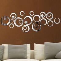 24x Abnehmbare Wandaufkleber 3D Spiegel Kreis Acryl Aufkleber DIY Wohnkultur W0q