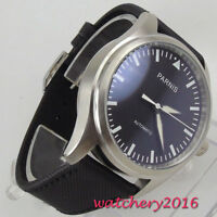42mm parnis Automatic Movement mens Casual Watch Black Dial Stainless Steel Case