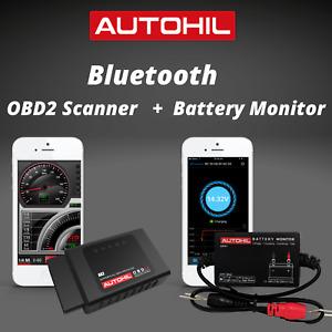 AUTOHIL Car Bluetooth OBD2 Scanner Tool + ABM2 Bluetooth Battery Monitor Deal