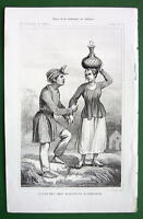 MOLUCCAS ISLANDS Amboine Natives Costume - 1843 Antique Print