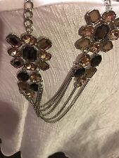 ~Fashion Bug Beaded Multi-color Necklace Silver/ Champange  Jewelry NEW