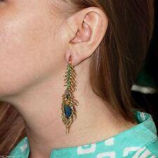Emerald Gemstone Opal 18k Rose Gold Pave Diamond FEATHER Dangle Earrings Jewelry
