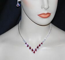 Silver W. Red Ruby & Clear Rhinestone Crystal Necklace & Earrings Bridal Set