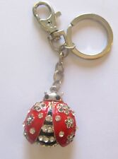 SPARKLING CHARMS Chains -Key Ring - LADY BUG silver red black- crystals