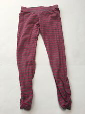 Juicy Couture Pink Gray Gold Striped Lurex Leggings $58 Girls Size 6