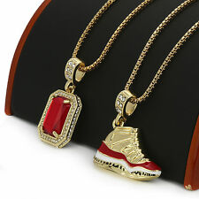 """14k Gold Plated High Fashion 2 Pcs (Concord) Red Ruby 30"""" & 24"""" Box Necklace"""
